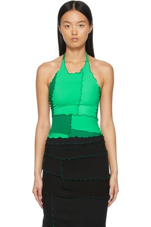 Sherris Women Halterneck Tops - Colorblocked Ruffle Halter Tank Top
