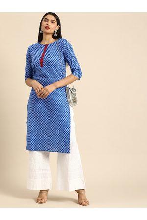 Anouk Women Kurtas - Women Blue Ethnic Motifs Printed Pure Cotton Kurta