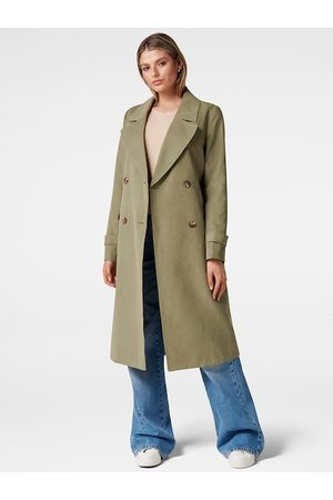 Forever New Women Green Solid Longline Trench Coat