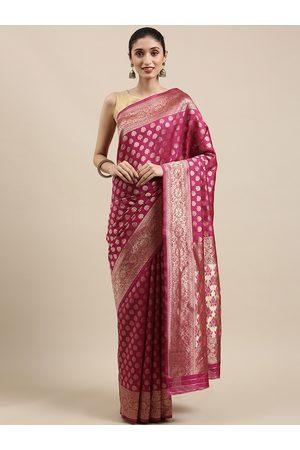 Indian Women Purple Embroidered Silk Cotton Kanjeevaram Saree