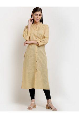 GRACIT Women Kurtis - Women Beige Regular Pure Cotton Kurti with Churidar