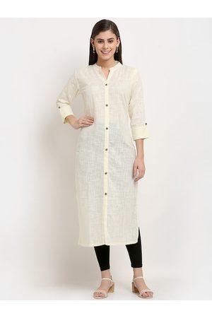GRACIT Women Cream-Coloured High Slit Pure Cotton Kurti with Churidar