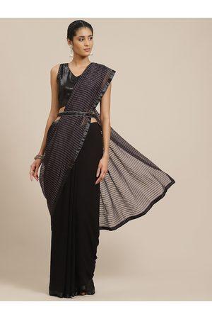 Sangria Women Sarees - Women Black Sequinned Half and Half Saree
