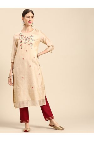 Anouk Women Beige & Maroon Ethnic Motifs Embroidered Kurta with Trousers