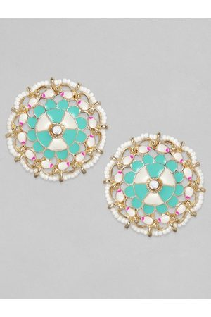 Anouk Gold-Toned & Turquoise Blue Contemporary Studs Earrings