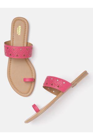 Anouk Women Flats - Women Pink Textured One-Toe Flats with Laser Cuts