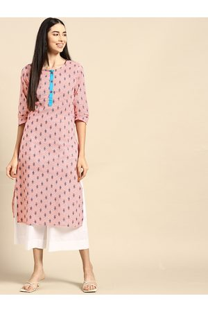 Anouk Women Red & White Floral Printed Floral Pure Cotton Kurta