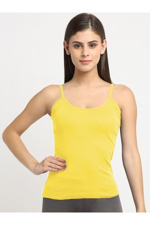 Friskers Women Vests - Women Yellow Cotton Sleeveless Camisole