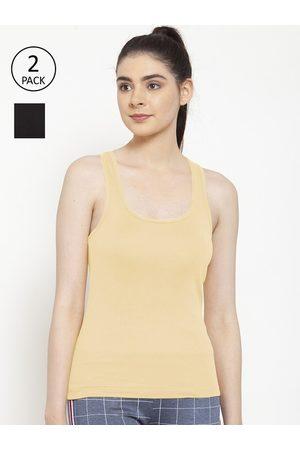 Friskers Women Vests - Women Pack Of 2 Black & Beige Premium Cotton Rib Tank top