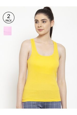 Friskers Women Pack of 2 Yellow & Light Pink Premium Cotton Rib Tank top