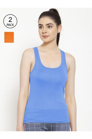 Friskers Women Vests - Women Pack of 2 Orange & Turquoise Blue Cotton Ribbed Camisoles