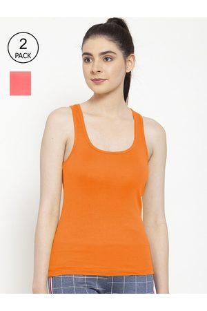 Friskers Women Vests - Women Pack of 2 Orange & Peach Cotton Ribbed Camisoles