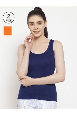 Friskers Women Vests - Women Pack of 2 Blue & Orange Premium Cotton Rib Tank top