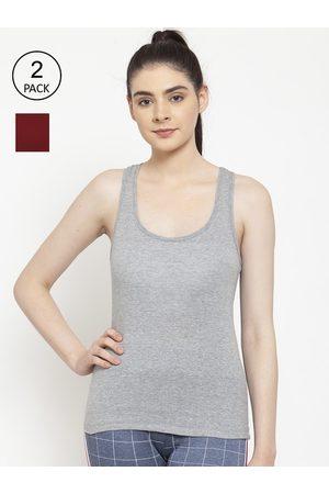 Friskers Women Vests - Women Pack Of 2 Grey & Maroon Solid Premium Cotton Camisoles