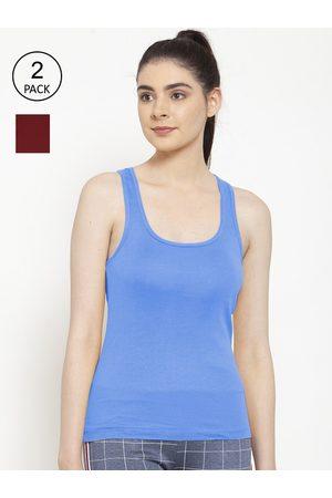 Friskers Women Vests - Women Pack Of 2 Maroon & Turquoise Blue Solid Premium Cotton Camisoles
