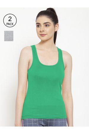 Friskers Women Vests - Women Pack of 2 Grey & Green Premium Cotton Rib Tank top