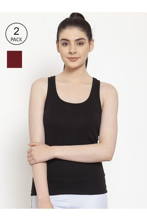 Friskers Women Vests - Women Pack of 2 Black & Maroon Cotton Ribbed Camisoles