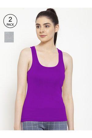 Friskers Women Pack of 2 Grey & Purple Premium Cotton Rib Tank top