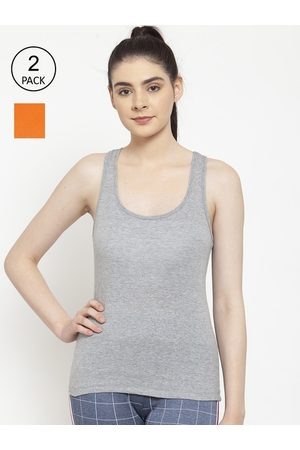 Friskers Women Vests - Women Pack of 2 Orange & Grey Cotton Ribbed Camisoles