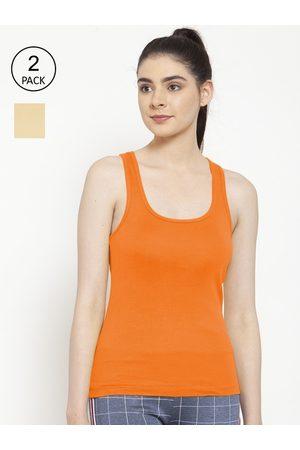 Friskers Women Vests - Women Pack of 2 Orange & Beige Cotton Ribbed Camisoles