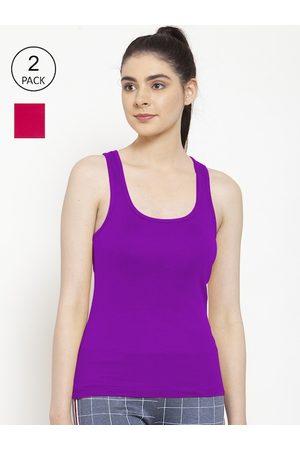 Friskers Women Vests - Women Pack Of 2 Pink & Purple Solid Premium Cotton Camisoles