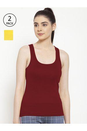 Friskers Women Vests - Women Pack of 2 Yellow & Maroon Premium Cotton Rib Tank top