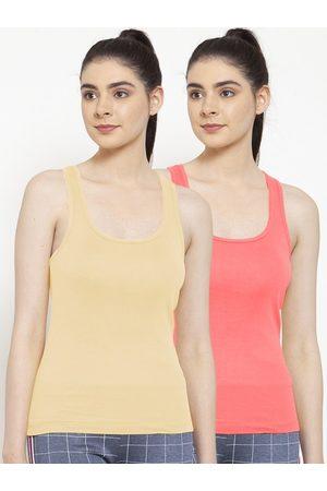 Friskers Women Vests - Women Pack Of 2 Beige & Orange Solid Premium Cotton Camisoles