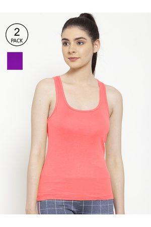 Friskers Women Vests - Women Pack of 2 Gajri & Purple Premium Cotton Rib Tank top