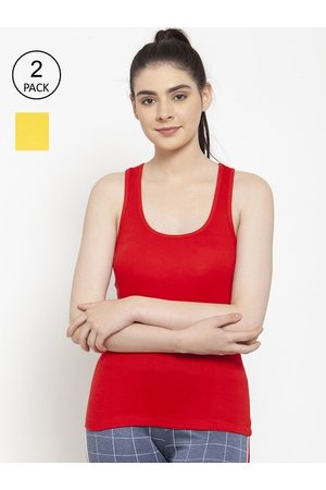 Friskers Women Vests - Women Pack of 2 Red & Yellow Premium Cotton Rib Tank top