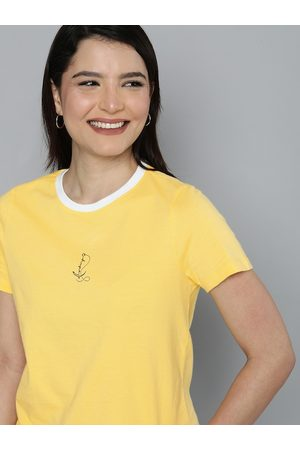 Mast & Harbour Women T-shirts - Women Yellow Contrast Neckline T-shirt with Printed Detailing