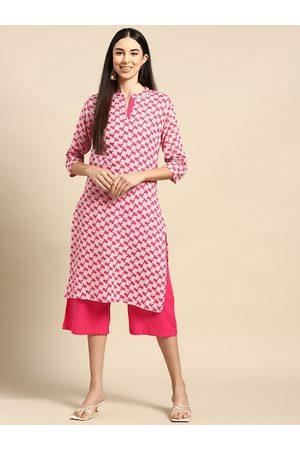 Anouk Women Palazzos - Women Pink & White Pure Cotton Floral Print Kurta with Palazzos