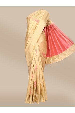 The Chennai Silks Women Beige Woven Design Dupion Saree