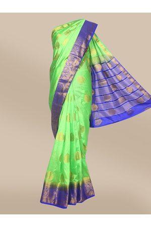 The Chennai Silks Women Green & Blue Woven Design Taffeta Saree