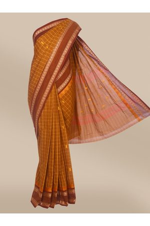 The Chennai Silks Women Sarees - Women Mustard Checked Woven Design Chettinad Cotton Saree