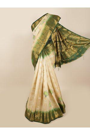 Pothys Women Sarees - Women Cream-Coloured & Green Embroidered & Woven Designed Tissue Saree