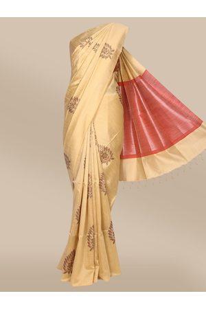 The Chennai Silks Women Sarees - Women Beige Ethnic Motifs Woven Design Dupion Saree