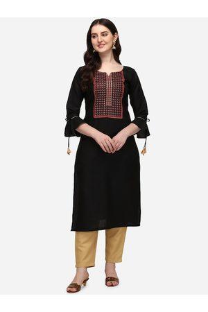 SAADHVI Women Palazzos - Women Black Embroidered Regular Thread Work Pure Cotton Kurti with Palazzos