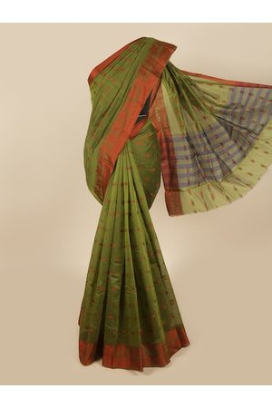 Pothys Women Sarees - Women Green & Brown Woven Designed Cotton Blend Saree