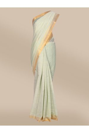 The Chennai Silks Women Sarees - Women Green Woven Design Mercerized Cotton Saree