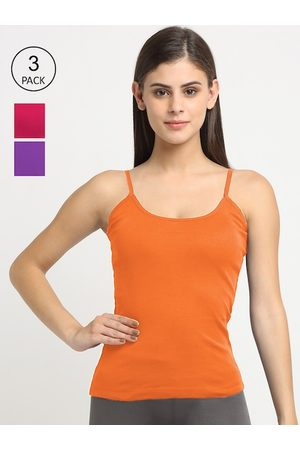 Friskers Pack of 3 Women Pink & Orange Cotton Camisole