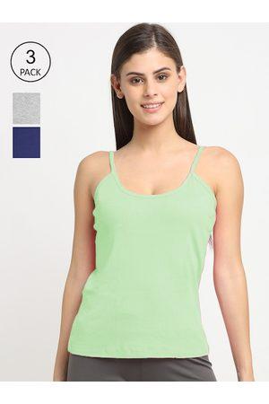 Friskers Women Vests - Women Pack Of 3 Solid Cotton Camisole