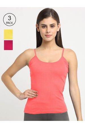 Friskers Women Vests - Women Pack Of 3 Solid 180 GSM Cotton Rib Camisoles