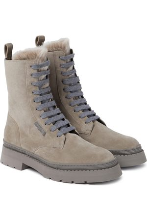 Brunello Cucinelli Shearling-lined suede combat boots