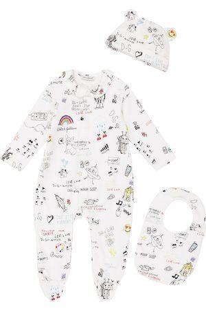 Dolce & Gabbana Baby printed cotton onesie, hat and bib set