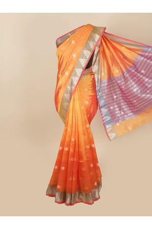 Pothys Women Sarees - Women Orange Woven Design Cotton Blend Saree