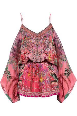 Camilla Pure silk embellished mini playsuit