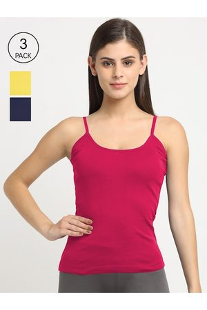Friskers Women Pack of 3 Solid Non-Padded Camisole