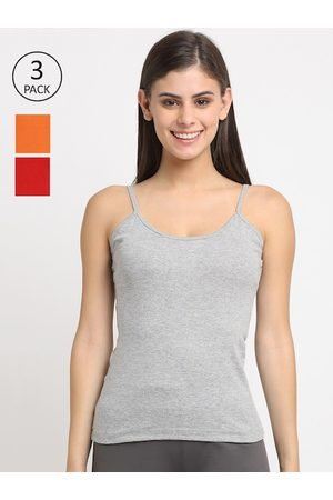 Friskers Women Pack of 3 Solid Cotton Rib Camisole