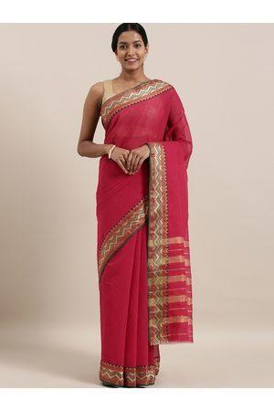 The Chennai Silks Women Sarees - Women Pink Woven Design Banahatti Cotton Saree