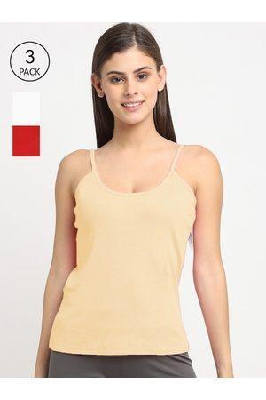 Friskers Women Vests - Women Pack Of 3 Solid Cotton Camisoles